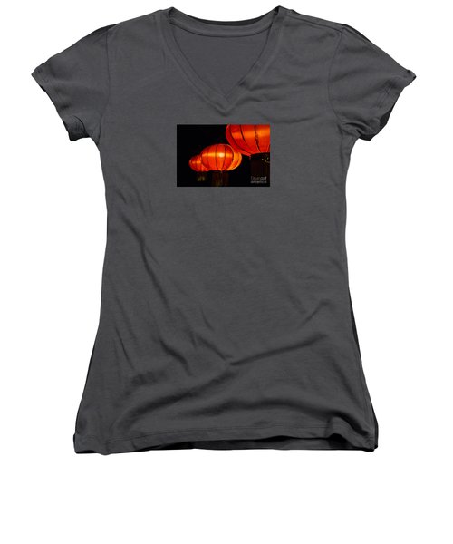 Red Lanterns Women's V-Neck T-Shirt (Junior Cut) by Rebecca Davis