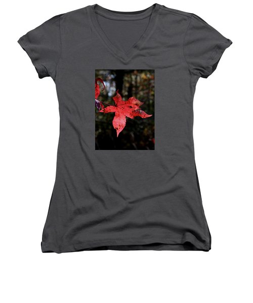 Red Leaf Women's V-Neck T-Shirt (Junior Cut) by Karen Harrison
