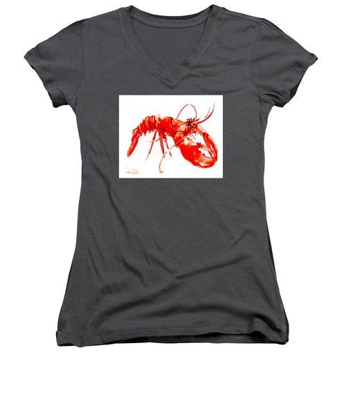Red Lobster Women's V-Neck T-Shirt (Junior Cut) by Suren Nersisyan