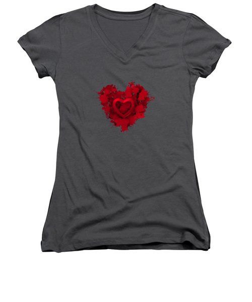 Red Love 1 Women's V-Neck