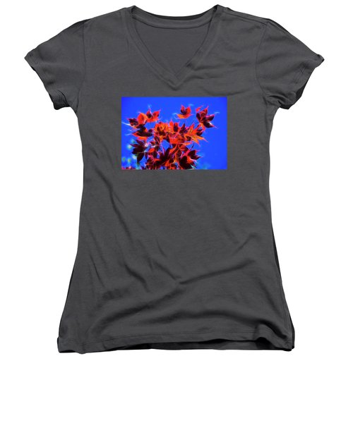 Red Maple Leaves Women's V-Neck T-Shirt (Junior Cut) by Yulia Kazansky