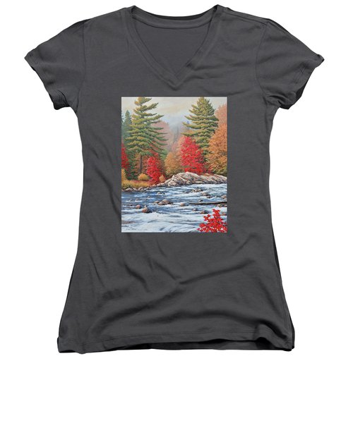Red Maples, White Water Women's V-Neck (Athletic Fit)