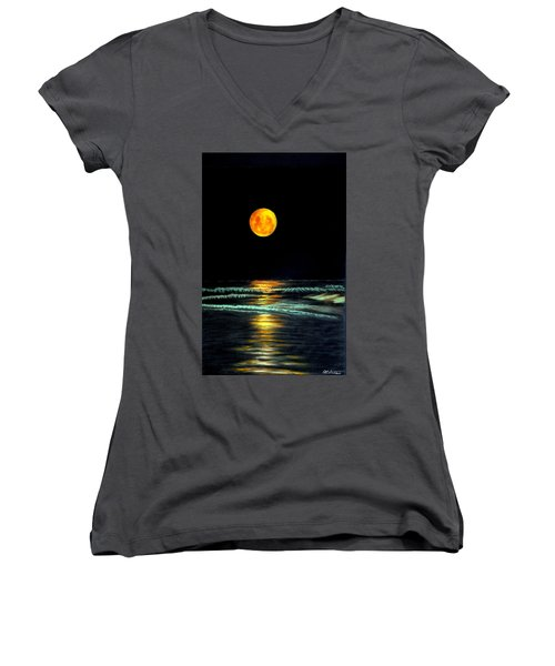 Red Moon Rising Women's V-Neck (Athletic Fit)