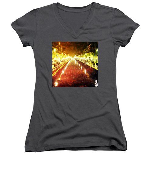 Women's V-Neck T-Shirt (Junior Cut) featuring the digital art Red Naviglio by Andrea Barbieri