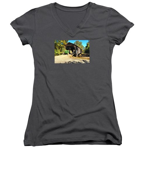 Red Oak Creek Covered Bridge And Tractor Women's V-Neck T-Shirt