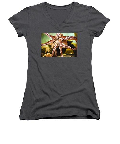 Red Octopus Women's V-Neck T-Shirt (Junior Cut) by Marilyn Hunt