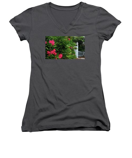 Women's V-Neck T-Shirt (Junior Cut) featuring the photograph Red Oleander Arbor by Marie Hicks