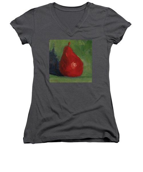 Red Pear Women's V-Neck T-Shirt (Junior Cut)