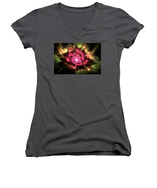Women's V-Neck T-Shirt (Junior Cut) featuring the digital art Red Peony by Svetlana Nikolova