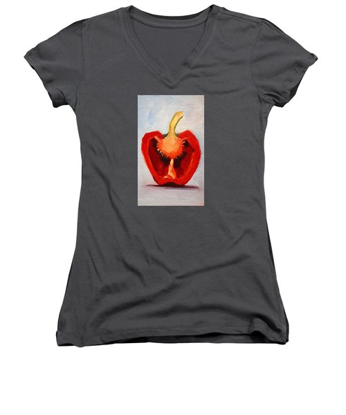 Women's V-Neck T-Shirt featuring the painting Red Pepper Sliced by Nancy Merkle