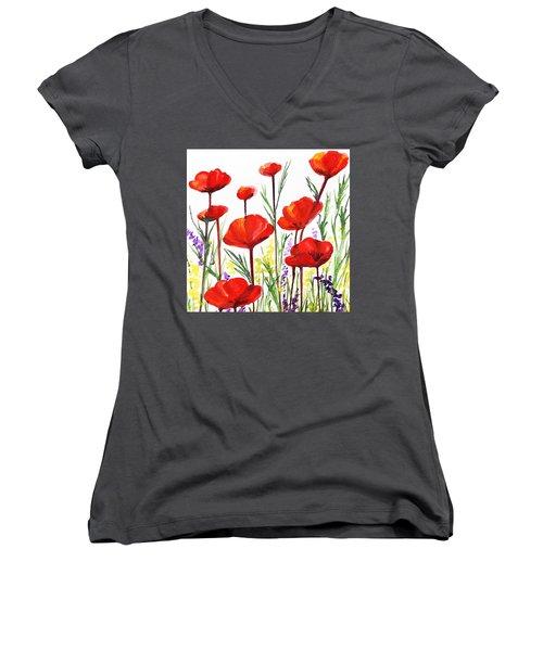 Red Poppies Art By Irina Sztukowski Women's V-Neck T-Shirt (Junior Cut) by Irina Sztukowski