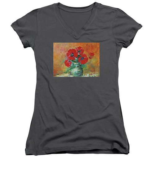 Red Poppies In A Vase Women's V-Neck (Athletic Fit)