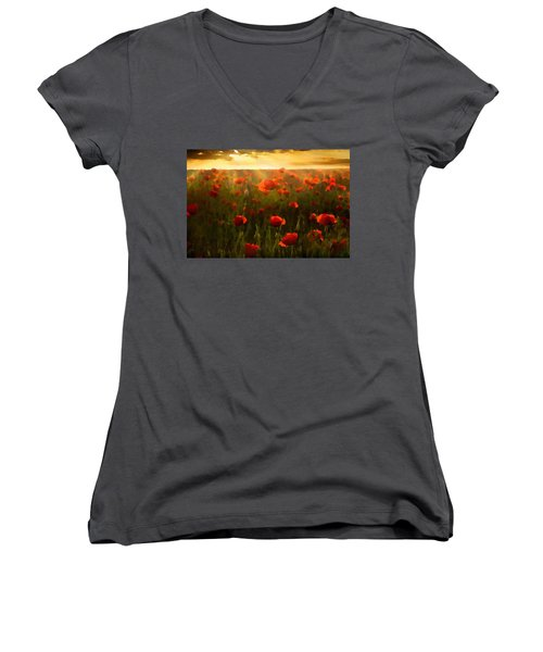 Red Poppies In The Sun Women's V-Neck