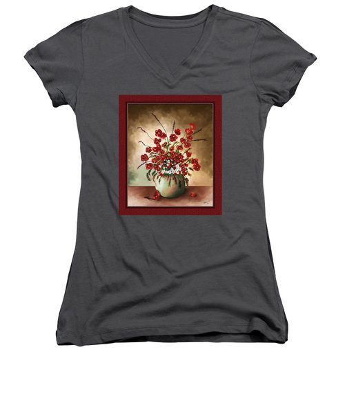 Women's V-Neck T-Shirt (Junior Cut) featuring the digital art Red Poppies by Susan Kinney