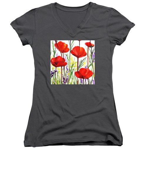 Red Poppies Watercolor By Irina Sztukowski Women's V-Neck T-Shirt (Junior Cut) by Irina Sztukowski