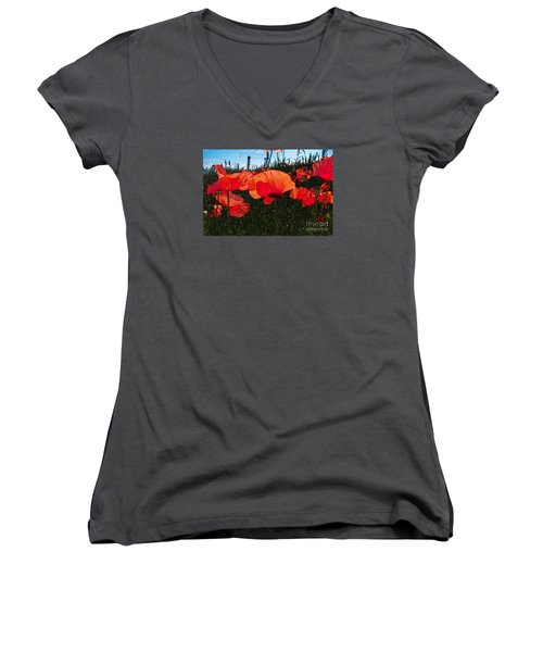 Women's V-Neck T-Shirt (Junior Cut) featuring the photograph Red Poppy Flowers In Grassland by Jean Bernard Roussilhe