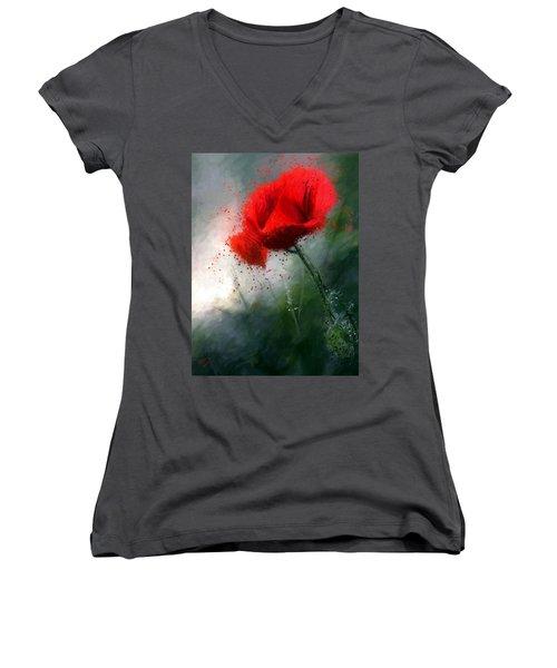 Red Poppy Women's V-Neck T-Shirt