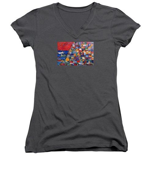Red Positano Italy Women's V-Neck T-Shirt