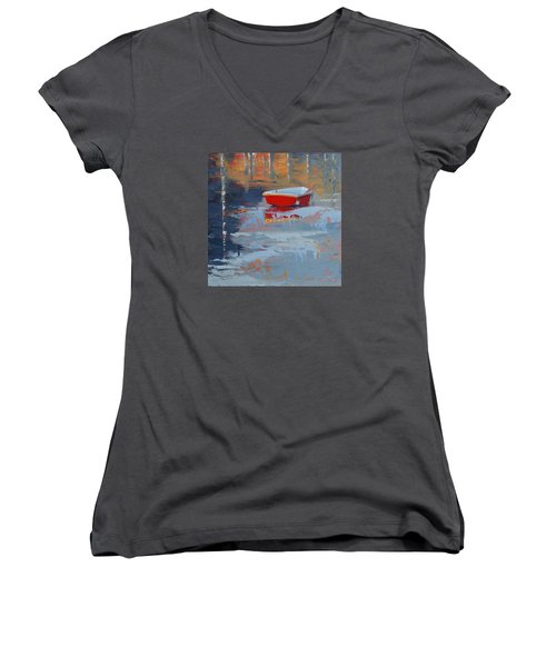 Red Reflections Women's V-Neck T-Shirt (Junior Cut) by Trina Teele