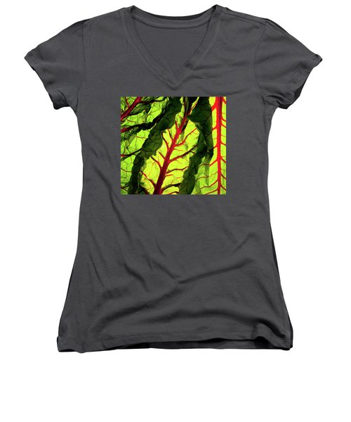 Women's V-Neck T-Shirt (Junior Cut) featuring the photograph Red River by Bobby Villapando