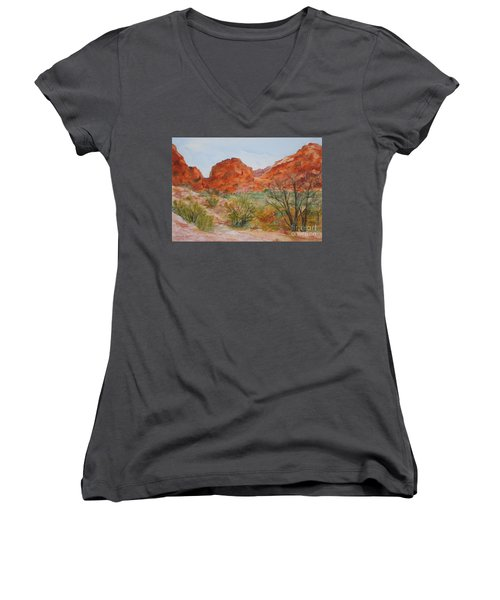 Red Rock Canyon Women's V-Neck T-Shirt