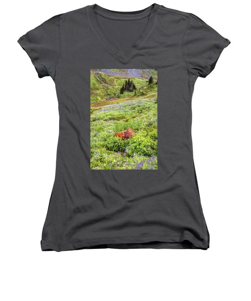 Women's V-Neck T-Shirt (Junior Cut) featuring the photograph Red Rock Of Rainier by Pierre Leclerc Photography