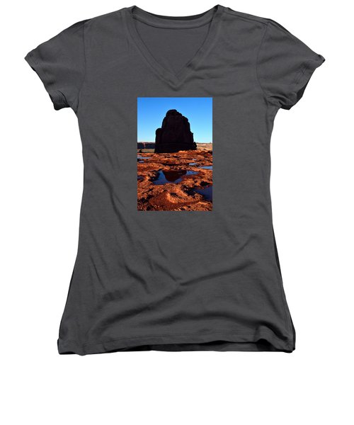 Red Rock Reflection At Sunset Women's V-Neck (Athletic Fit)