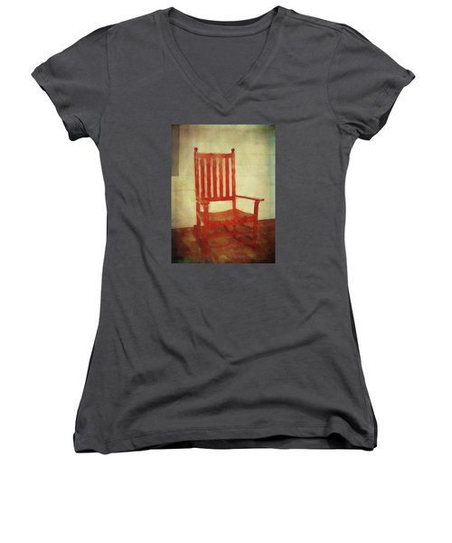 Women's V-Neck T-Shirt featuring the photograph Red Rocker by Bellesouth Studio