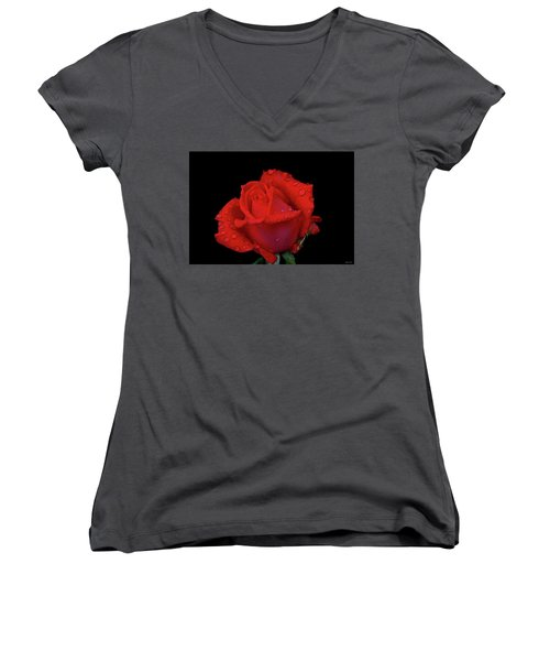 Women's V-Neck T-Shirt (Junior Cut) featuring the photograph Red Rose 013 by George Bostian