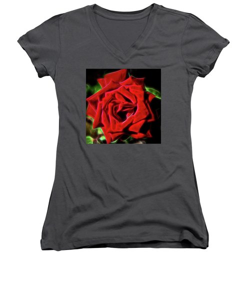 Red Rose 1a Women's V-Neck (Athletic Fit)