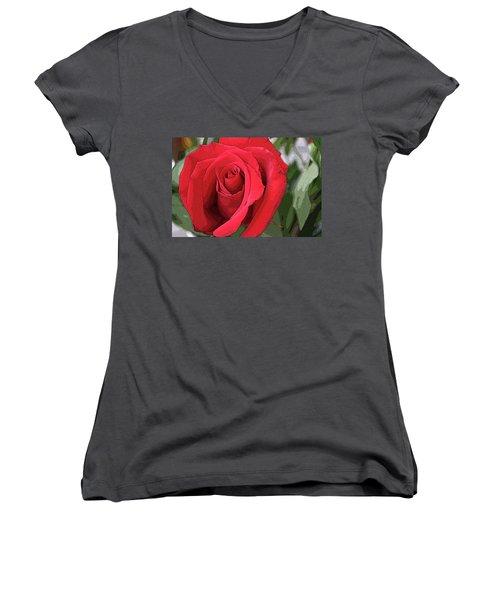 Red Rose Women's V-Neck (Athletic Fit)