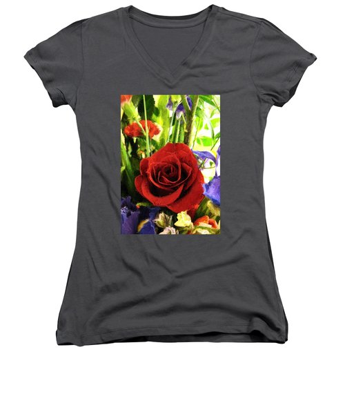 Red Rose And Flowers Women's V-Neck