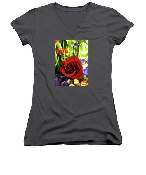 Red Rose And Flowers Women's V-Neck (Athletic Fit)