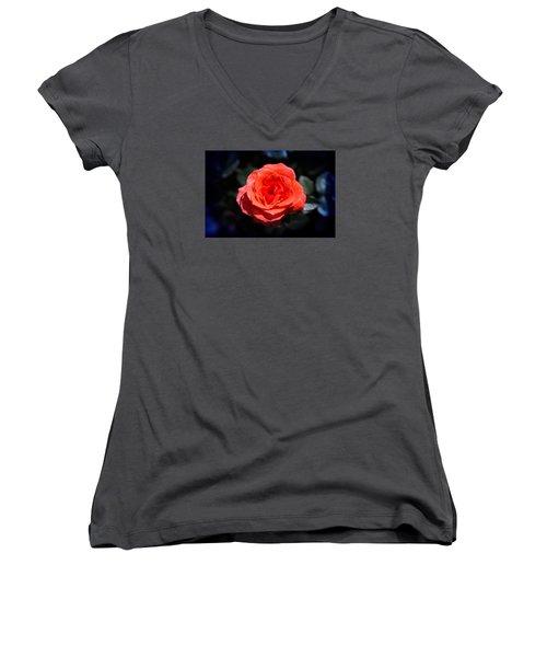 Red Rose Art Women's V-Neck T-Shirt (Junior Cut) by Milena Ilieva