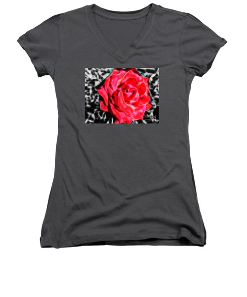 Red Rose Fractal Women's V-Neck (Athletic Fit)