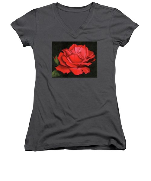 Red Rose Women's V-Neck T-Shirt (Junior Cut) by Janet King