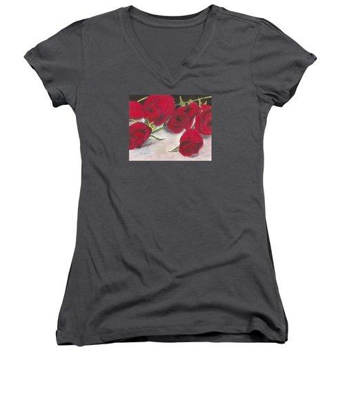 Red Rose Redux Women's V-Neck T-Shirt