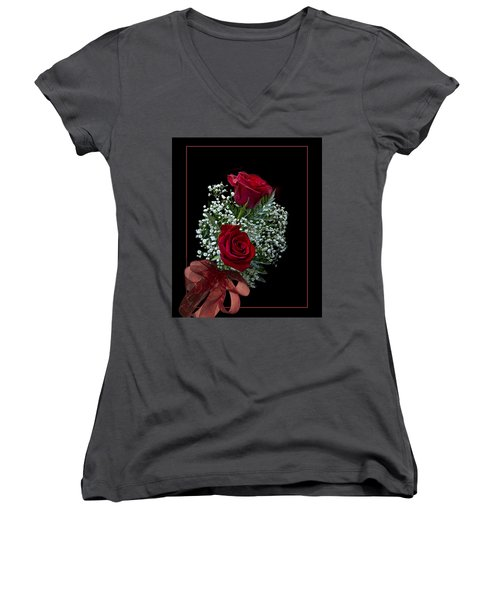 Women's V-Neck T-Shirt (Junior Cut) featuring the photograph Red Roses For A Blue Lady by Judy Johnson
