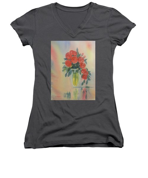 Red Roses For My Valentine Women's V-Neck (Athletic Fit)