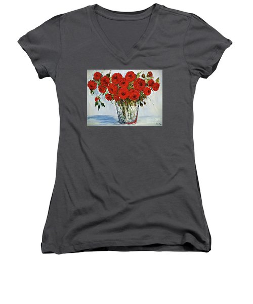 Red Roses Memories Women's V-Neck (Athletic Fit)