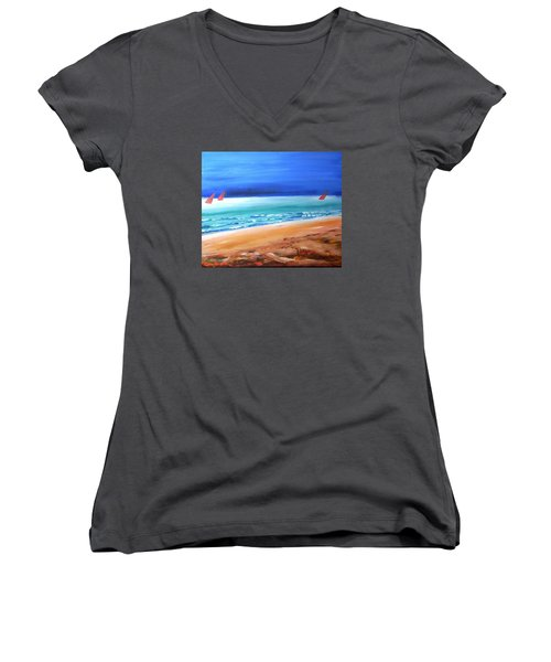 Women's V-Neck T-Shirt (Junior Cut) featuring the painting Red Sails by Winsome Gunning