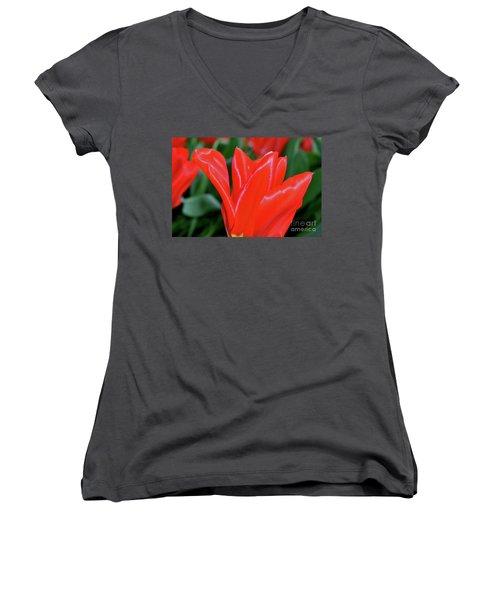 Red Satin Women's V-Neck T-Shirt
