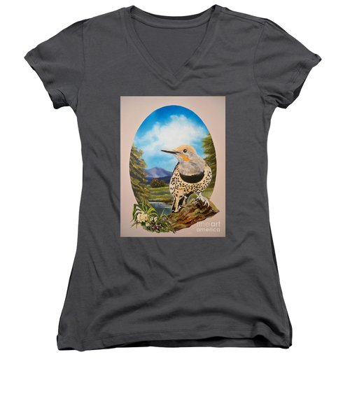 Women's V-Neck T-Shirt (Junior Cut) featuring the painting Red Shafted Flicker by Sigrid Tune