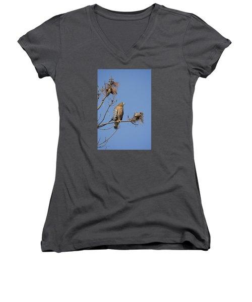 Red Shoulder Hawk Women's V-Neck T-Shirt