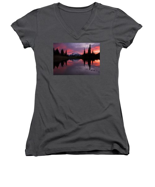 Women's V-Neck T-Shirt (Junior Cut) featuring the photograph Red Sky At Night by Mike  Dawson