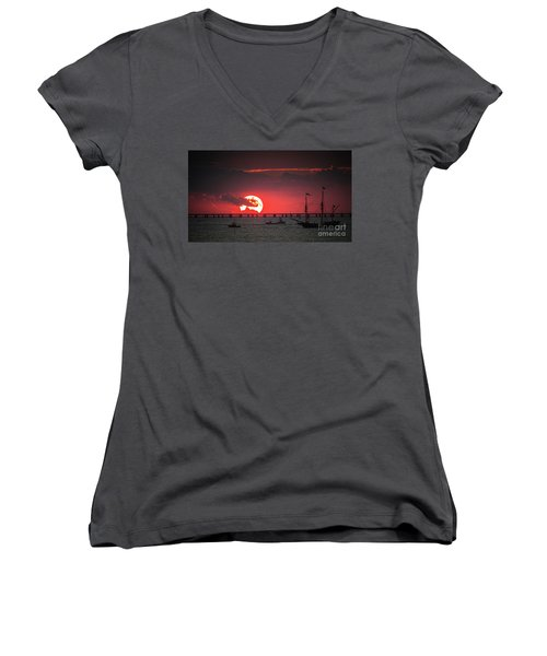 Red Sky Women's V-Neck T-Shirt (Junior Cut) by Scott and Dixie Wiley