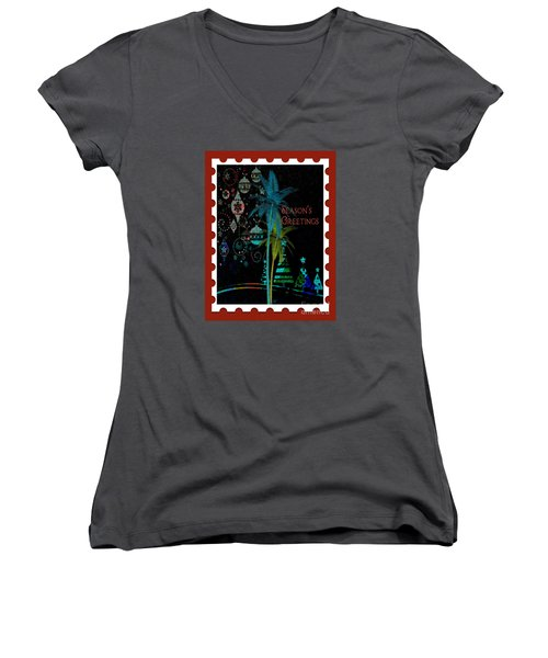 Women's V-Neck T-Shirt (Junior Cut) featuring the digital art Red Stamp by Megan Dirsa-DuBois