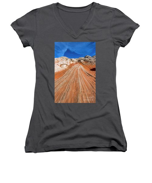Women's V-Neck T-Shirt (Junior Cut) featuring the photograph Red Stone Highway by Mike Dawson