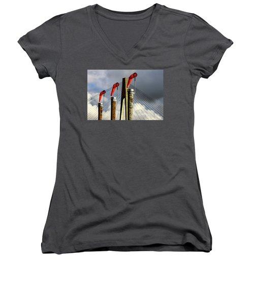 Red Subject Women's V-Neck T-Shirt (Junior Cut) by Menachem Ganon