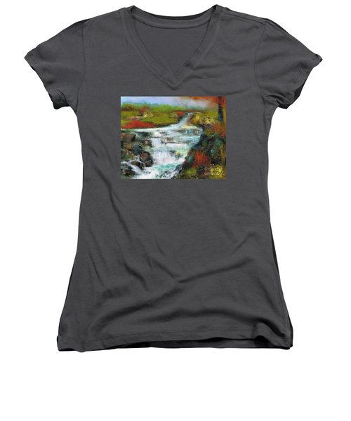 Yellow Fields With Red Sumac Women's V-Neck T-Shirt (Junior Cut) by Frances Marino